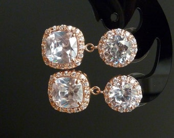 Bridal Earrings Large Rose Gold Halo Square Cubic Zirconia with Large Rose Gold Round Post Earrings
