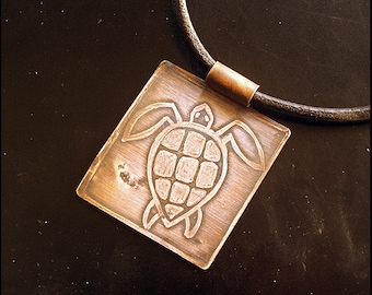 One from the ocean... - Copper etched necklace