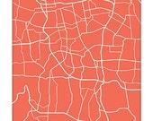 Jakarta City Map Art Print / Indonesia Line Map Wall Art / 8x10 Digital Print / Personalized colors