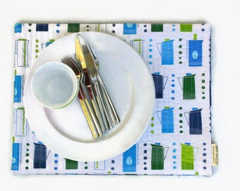 Quilted Table Placemats Metro Cafe Retro Coffee Pots in Blue, Green and White - Set of 4