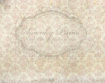 8ft x 7ft Cream Rose Cracking Damask  / Vinyl Photography Backdrop / NEW ITEM