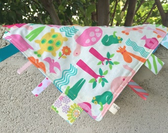 Pink and Green Zoo Animals Tag Blanket with your choice of Minky // In Stock, READY TO SHIP