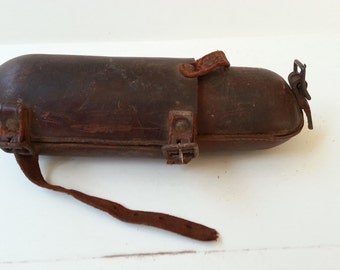 1900's Leather Horse Saddle Glass Bottle Holder - Flask Cantle Valise - Cattle Drives / Calvary