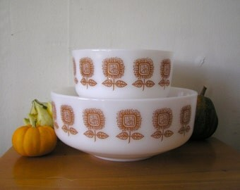Federal Glass Sunflower Milk Glass Mixing Bowls