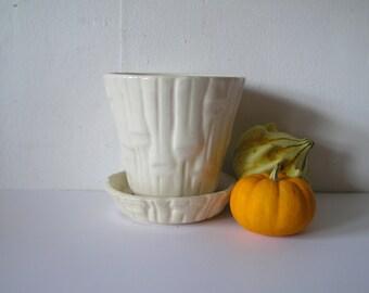 Vintage White USA Pottery Bamboo Planter