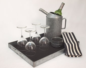Vintage Barware Set / Bar Accessories with galvanized serving tray, mat, oil can wine chiller, and 4 coasters; indoor / outdoor