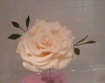 Giant paper rose in ivory