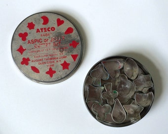 Vintage Baking 'Ateco #4847' Aspic or Jelly Cutter Set in Tin: Consists of 12 Fancy Shapes, by the August Thomsen Corp.