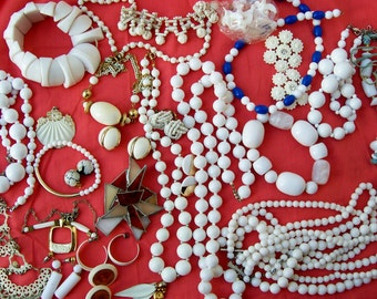 Vintage WHITE JEWELRY LOT Destash Wearable Resale Crafting Stained Glass Beads Upcycle 1