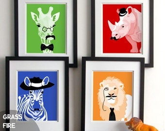 Children's art, Animals with mustaches - bright colorful set of four prints - jungle safari - Lion giraffe rino zebra - dapper animals