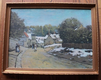 "Vintage French Impressionistic Lithographic Print of  ""Early Snow at Louveciennes""  (1870-71) by The Artist ALFRED  SISLEY with great frame"
