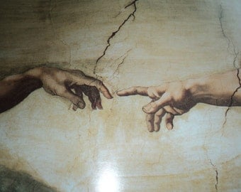 "A Vintage Michelangelo Lithographic Print of ""The Creation of Adam""  as painted on the Sistine Chapel ceiling in a poster sized print"