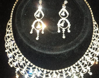 Vintage Rhinestone Choker Necklace and Candelabra Earrings Set, Wonderful Wedding Wear for the Traditional Bride in Very Good Condition