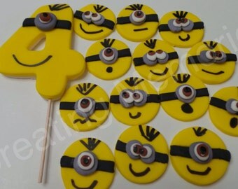 FONDANT MINION birthday set - Edible Minion cupcake toppers and large number. Perfect for that special birthday