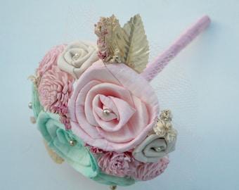 Pink, Mint, Gold, Bridesmaid Bouquet // Wedding Bouquet, Bridal Bouquet, Sola Bouquet, Pastel Flowers, Nursery Flowers, Keepsake Bouquet