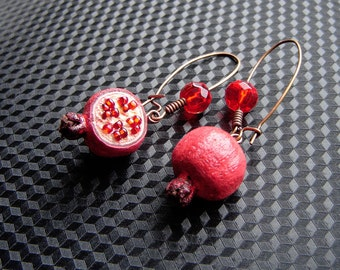 Pomegranates earrings. MADE TO ORDER.