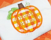 Plaid Pumpkin Monogram Applique Long Sleeve shirt