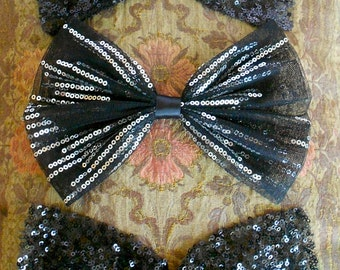 Black Sequined Net Bows