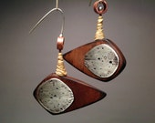 Wood and Silver Earrings- comet, metal, meteor