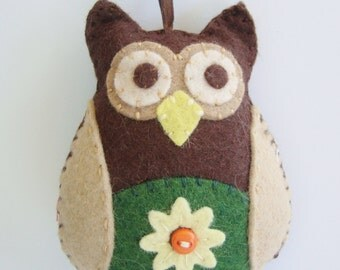 Felt Owl, Retro Owl Ornament, Hanging Owl Ornament, Flower Owl, Owl Christmas Ornament, OOAK Ornament