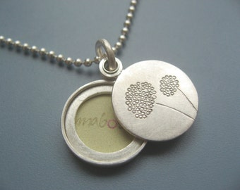 Dandelion locket sterling silver picture locket handmade small locket