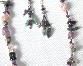 Jeweltones Semiprecious Gemstone Necklace and Earring Set, Purples,Green,Black, Pink and shells, Natural Elements Jewelry