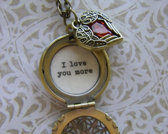 I Love You More Necklace, Quote Locket, Heart Jewelry,  Wife, Fiance, Daughter Mom gift