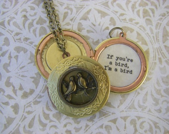 The Notebook Inspired Locket If You're A Bird I'm A Bird Necklace Valentine Gift  Lovebirds
