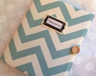 Photo Album Personalized - holds 72 Pictures - Large Blue Chevron Fabric or Fabric of Your Choice