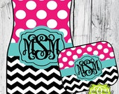 Car Mats Chevron Polka Dots Personalized Monogrammed Floor Car Mat Initial Pink Turquoise Black