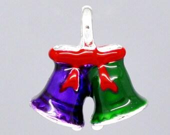 SALE Christmas Bells - Purple and Green Enamel Bells - Red Enamel Bow - 17x16mm - 3pcs - Ships IMMEDIATELY from California - E81