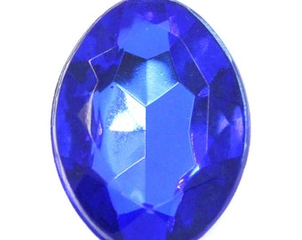 25 Blue Cabochons - Faceted - 14x10mm - Ships IMMEDIATELY from California - C124