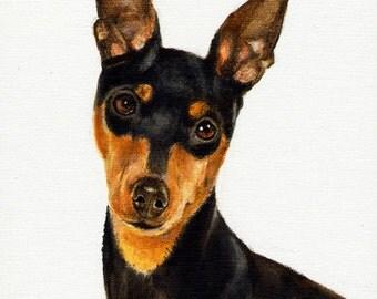 Original Oil DOG Portrait Painting MINIATURE PINSCHER Art Artist Signed Puppy