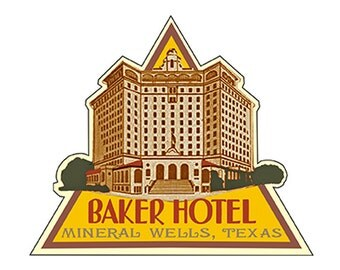 Baker Hotel Mineral Wells Texas Luggage Label