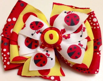 Red, Yellow, Polka Dot LADYBUG SPRING Glitter Button Stacked Boutique Style Ribbon Handmade for PETS Dog Bow Collar Accessory