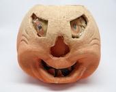 1930's F N Burt Co Halloween Jack-O-Lantern with Original Insert, made with Pulp Paper Mache