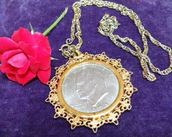 1971 Eisenhower Silver Dollar Pendant Necklace with Chain