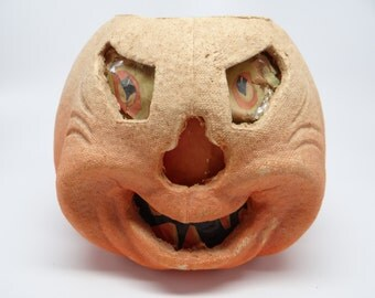 1930's F N Burt Co Halloween Jack-O-Lantern with Original Insert, made with Pulp Paper Mache