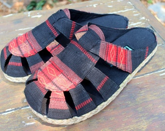 Tribal Naga Mens Shoes in Ethnic Textiles Vegan Slide Summer Shoes- Reese