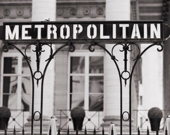 Paris Fine Art Photograph -  Bourse Station Metro Sign, Black and White Photograph, French Urban Home Decor, Large Wall Art