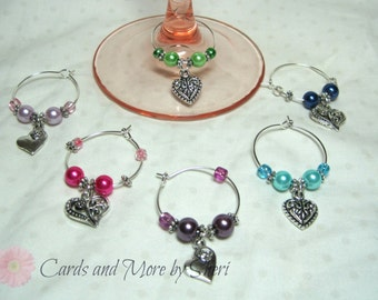 CLEARANCE Wine Glass Charms - Hearts - Wedding Gift - Hostess Gift - Housewarming Gift