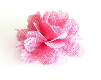 1 Pc - Light Pink Burlap Flower - 3 inch Folded Flower