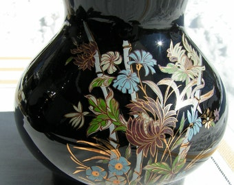 Oil Storm Lantern BLACK with Gold and Blue Floral Design Never Used