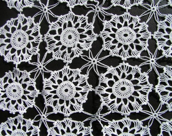 TWO 40s White Cotton CROCHETED Square Doilies STARFISH and Medallions