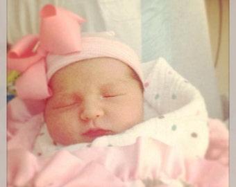 First Bow Newborn Hospital Hat First Bow Rhinestone Center (newborn girl hat, newborn beanie, newborn hospital hat with bow, first bow)