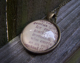 Graduation Gift- Genius Vintage Dictionary Print Handmade Cabochon Necklace--Quirky Funny Gift