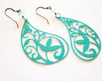 Paisley Earrings Turquoise Paisley Earring Filigree Boho Style Earring Paisley Jewelry Gypsy Delicate Lightweight Spring Earrings Gift Idea