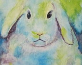 "Fluffy Bunny,  Nursery, Boy, Girl, Baby Room Decor, Original  7 x 5 x 1/8 ""  Watercolor Painting by ebsq Artist  Ricky Martin. FREE SHIPPING"