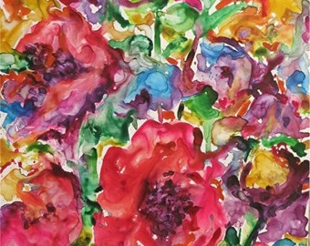 Abstract Flowers  # 5 Vivid, Vibrant Original Fine Art  Contemporary Watercolor Painting by ebsq Artist Ricky Martin FREE SHIPPING