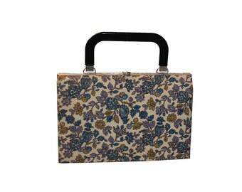 Vintage Structured Handbag, Floral Print, Fabric Purse in Blue, Purple & Gold, Black Handle